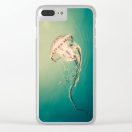 Lady Jellyfish is swimming in the calm sea of Trieste. Clear iPhone Case