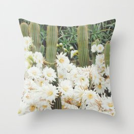 Cactus and Flowers Throw Pillow