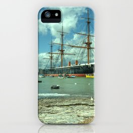 HMS Warrior at Portsmouth Harbour iPhone Case