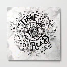 Time to Read - Black Metal Print