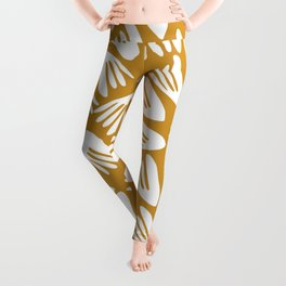 Papier Découpé Modern Abstract Cutout Pattern in White and Dark Mustard Leggings