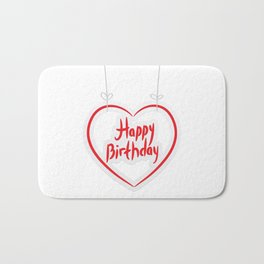 Happy birthday. red paper heart on White background. Bath Mat