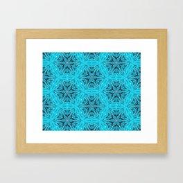 Black Snowflakes stars ornament on Blue Framed Art Print