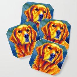 Colorful Golden Retriever Dog Portrait Coaster
