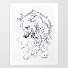 Hyena and Blossoms Art Print