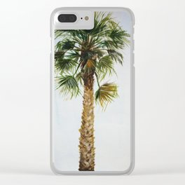 Palm tree, coastal watercolor Clear iPhone Case