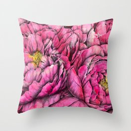 Peonies three pink Throw Pillow