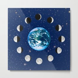 Earth and Moon Phases, on a Background of Stars Metal Print
