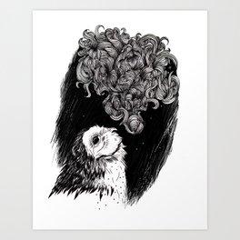 Owl Smoke Art Print