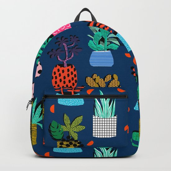 Check It - house plants indoor monstera neon bright modern pattern retro throwback memphis style Backpack
