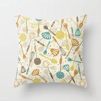 kitchen Throw Pillows featuring Kitchen Utensils by Anna Deegan