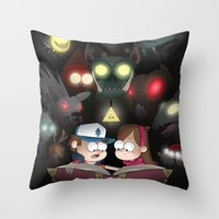 gravity falls Throw Pillows featuring Gravity Falls - Monster Manual by Rebexorcist
