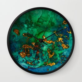 Emerald And Blue Glitter Marble Wall Clock