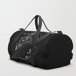 Sacred geometry black and white geometric art Duffle Bag