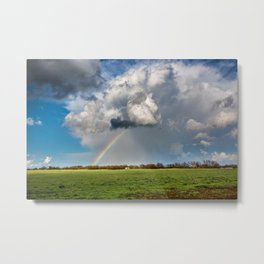 Under the Rainbow - Rainbow Over Oklahoma Landscape Metal Print