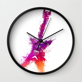 Electric guitar purple Wall Clock