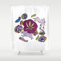 cannabis Shower Curtains featuring Cannabis Bunnies by Ri 13