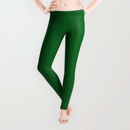 Forest Green Solid Color Block Leggings