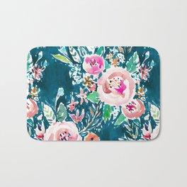 PLENITUDE FLORAL Navy Peach Watercolor Bath Mat