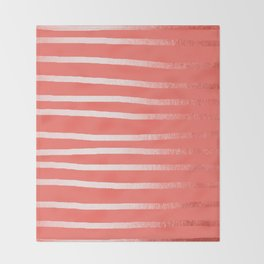 Living Coral Rose Gold Simply Drawn Stripes Throw Blanket