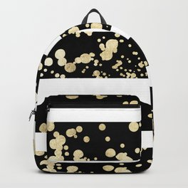 Stylish black and white faux gold confetti stripe Backpack