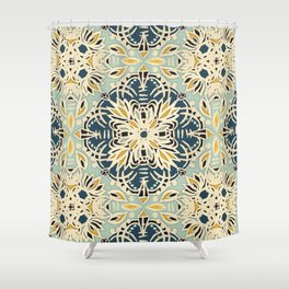 Protea Pattern in Deep Teal, Cream, Sage Green & Yellow Ochre  Shower Curtain