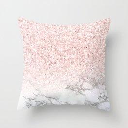 Pretty Rosegold Marble Sparkle Throw Pillow
