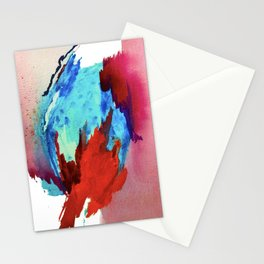 Ice and Fire: a vibrant, colorful, mixed media piece in pinks, blues, and red Stationery Cards