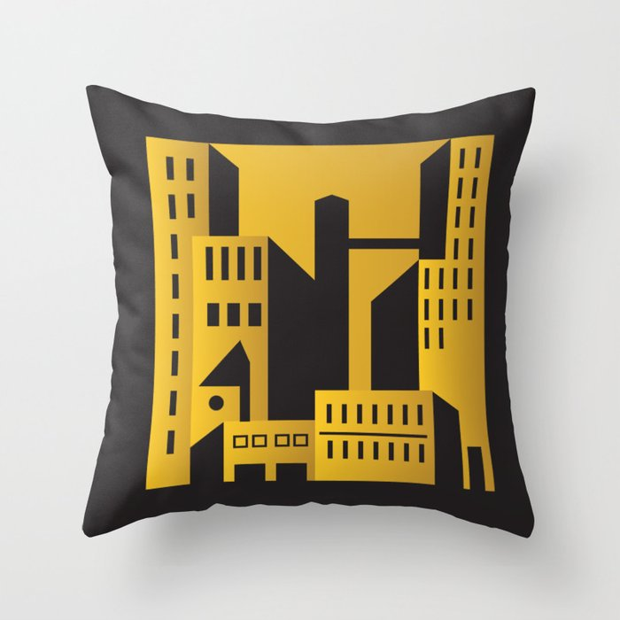 Art Deco Throw Pillows.Golden City Art Deco Throw Pillow By Annaki