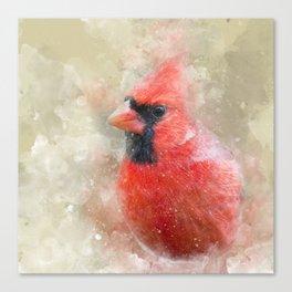 Northern Cardinal Watercolor Splatter Canvas Print