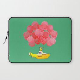 Flying Submarine with Red Balloons in Green Laptop Sleeve