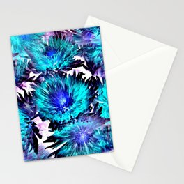 Turquoise Purple Abstract Flowers Stationery Cards