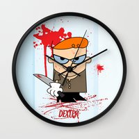 dexter Wall Clocks featuring Dexter by Gianluca Gentile