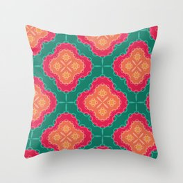 Pretty Chain Lozenge Pattern in Pinks on Teal Throw Pillow