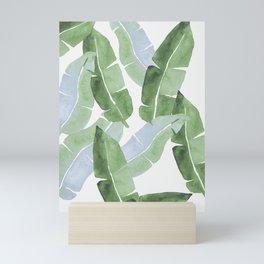Tropical Leaves 2 Blue And Green Mini Art Print