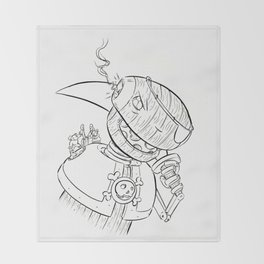 Robot Pirate - ink Throw Blanket