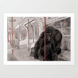 Gorilla on the Tube Art Print
