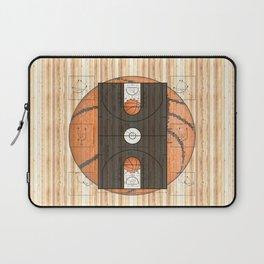 Black Basketball Court with Basketballs Laptop Sleeve