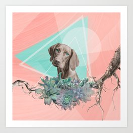 Eclectic Geometric Redbone Coonhound Dog Art Print