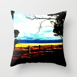 Storm clouds over wheat Fields Throw Pillow