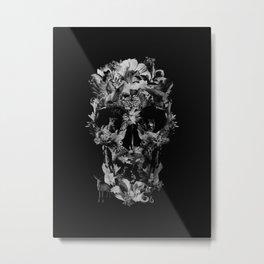 Jungle Skull B&W Metal Print