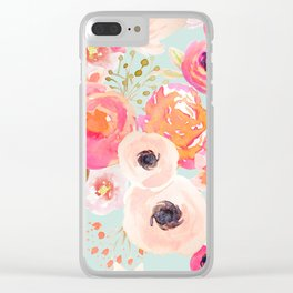 Indy Bloom Blush Blue Florals Clear iPhone Case
