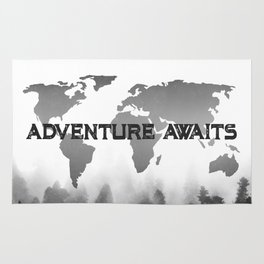 Adventure awaits morning forest black and white world map window adventure awaits morning forest black and white world map rug gumiabroncs Images