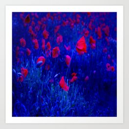 Red in Blue Art Print