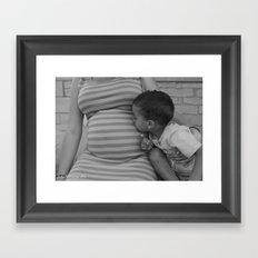 Kissing Baby Sis B&W Framed Art Print