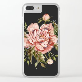 Pink Wild Rose Bouquet on Charcoal Clear iPhone Case