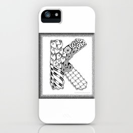 Zentangle K Monogram Alphabet initial iPhone Case