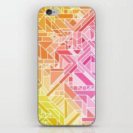 Bright Gradient (Hot Pink Orange Green Yellow Blue) Geometric Pattern Print iPhone Skin