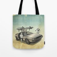 delorean Tote Bags featuring Lost, searching for the DeathStarr _ 2 Stormtrooopers in a DeLorean  by Vin Zzep
