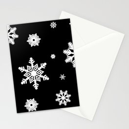 Snowflakes | Black & White Stationery Cards